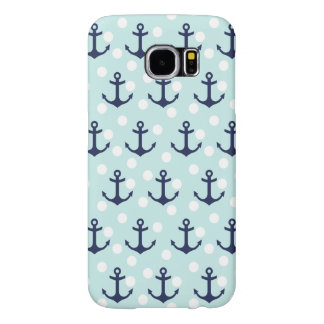 Nautical Mint Polka Dots And Navy Blue Anchors Samsung Galaxy S6 Cases