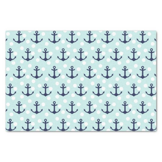 Nautical Mint Polka Dots And Navy Blue Anchors