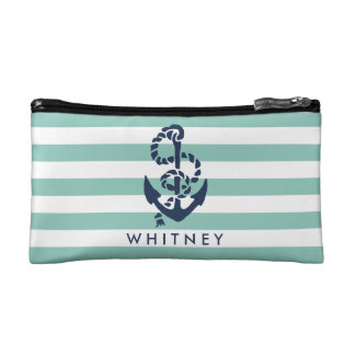 Nautical Mint Stripe & Navy Anchor Personalized Makeup Bag