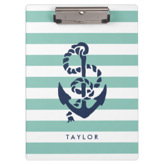 Nautical Mint Stripe & Navy Anchor Personalized Clipboard