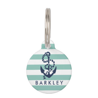 Nautical Mint Stripe & Navy Anchor Personalized Pet Name Tag