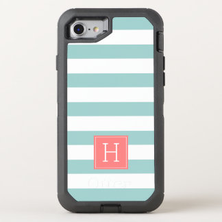 Nautical Mint Stripes and Coral Monogram OtterBox Defender iPhone 8/7 Case