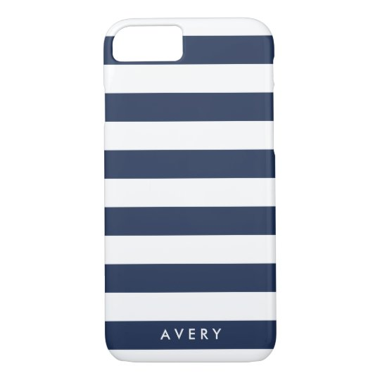 Nautical Modern Navy and White Stripe Personalised iPhone 7 Case