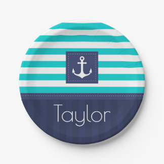 Nautical Modern Striped Anchor Design Personalized Paper Plate