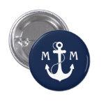 Nautical Monogram 3 Cm Round Badge