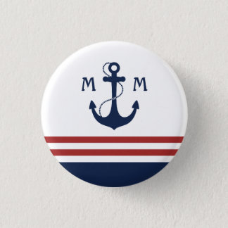 Nautical Monogram 3 Cm Round Badge