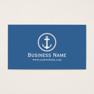Nautical Monogram Anchor Navy Blue Business Cards
