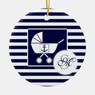 Nautical monogram baby christmas ornament