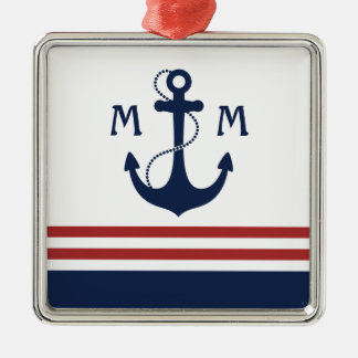 Nautical Monogram Christmas Ornament