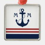 Nautical Monogram Christmas Ornaments
