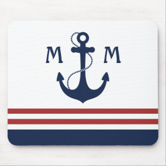 Nautical Monogram Mouse Pad