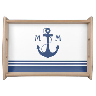 Nautical Monogram Serving Platters