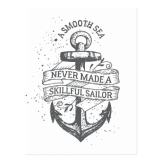 Nautical motivational sailor quote postcard