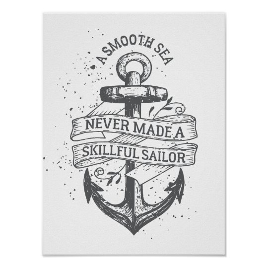 Nautical motivational sailor quote poster