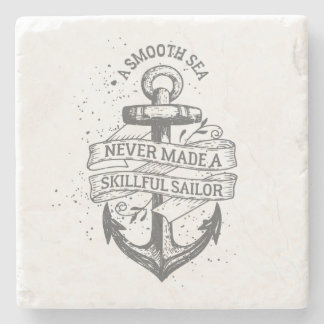 Nautical motivational sailor quote stone beverage coaster