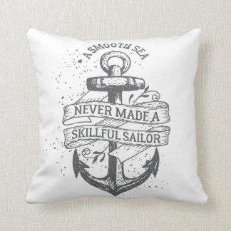 Nautical motivational sailor quote throw pillow