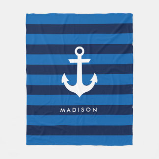 Nautical Name Stripes Fleece Blanket