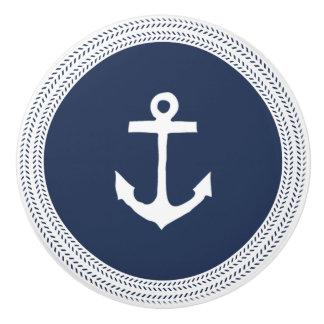Nautical Navy Anchor and Rope Braid Ceramic Knob
