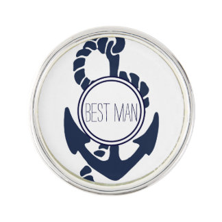 Nautical Navy Anchor Best Man Lapel Pin