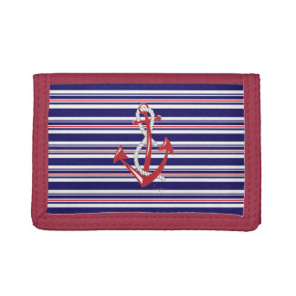 Nautical Navy Anchor, Blue, Red, Stripes Trifold Wallets