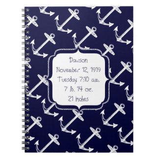 Nautical Navy Anchor Pattern Notebook