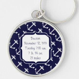 Nautical Navy Anchor Pattern Silver-Colored Round Key Ring