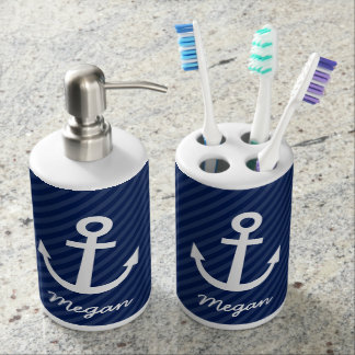 Nautical Navy Anchor Soap Dispenser And Toothbrush Holder