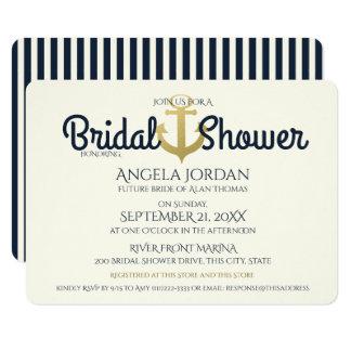 Nautical Navy and Gold Anchor Bridal Shower 11 Cm X 16 Cm Invitation Card