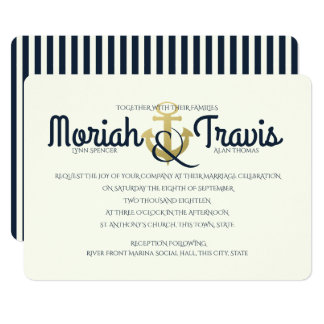 Nautical Navy and Gold Anchor Wedding Card