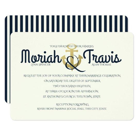 Nautical Navy and Gold Anchor Wedding Card