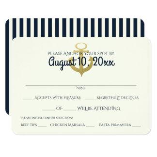Nautical Navy and Gold Anchor Wedding Response 9 Cm X 13 Cm Invitation Card