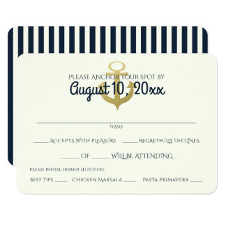 Nautical Navy and Gold Anchor Wedding Response Card