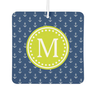 Nautical Navy and Lime Anchor Monogram Car Air Freshener