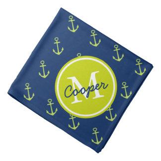 Nautical Navy and Lime Green Anchor Monogram Bandana