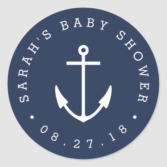 Nautical Navy and White Anchor Baby Shower Classic