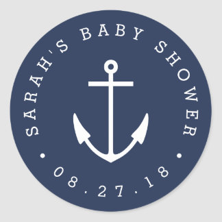 Nautical Navy and White Anchor Baby Shower Round Sticker