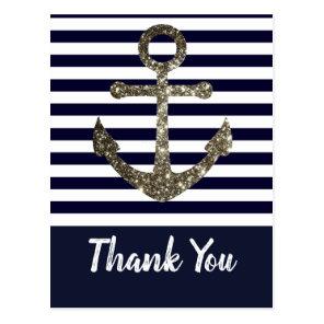 Nautical Navy and White Anchor Thank You Postcard