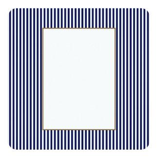 Nautical Navy and White Cabana Stripes 13 Cm X 13 Cm Square Invitation Card