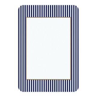Nautical Navy and White Cabana Stripes 9 Cm X 13 Cm Invitation Card