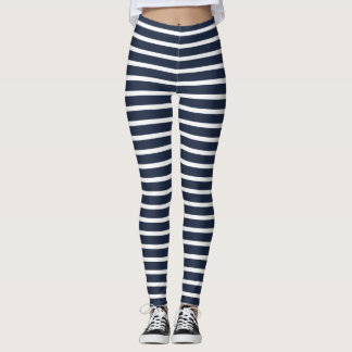 Nautical Navy and White Horizontal Stripes Leggings