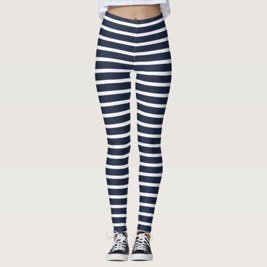 9549fb28382 Nautical Navy and White Horizontal Stripes Leggings