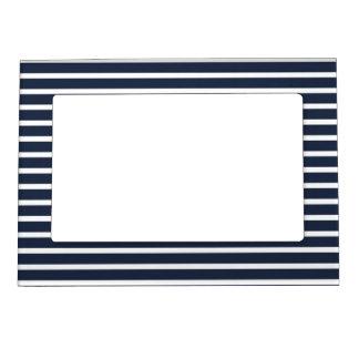 Nautical Navy and White Horizontal  Stripes Magnetic Frame