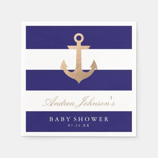 Nautical Navy Baby Shower Paper Napkins