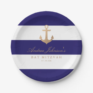 Nautical Navy Bat Mitzvah Paper Plate
