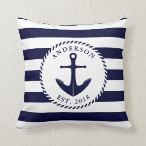 Nautical Navy Blue Anchor And Rope Personalised Cushion