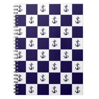Nautical Navy Blue Anchor Checker Board Notebook