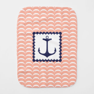 Nautical Navy Blue Anchor Coral Pink Waves Burp Cloth