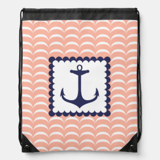 Nautical Navy Blue Anchor Coral Pink Waves Drawstring Bag