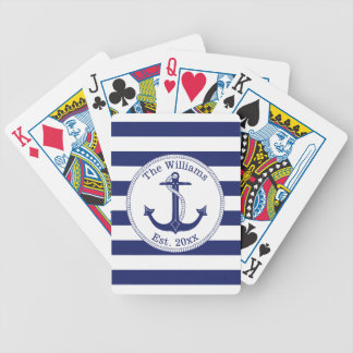 Nautical Navy Blue Anchor Family Name Bicycle Playing Cards