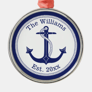 Nautical Navy Blue Anchor Family Name Christmas Ornament